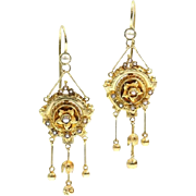 Antique Gold and Pearl Dangle Earrings ca.1870