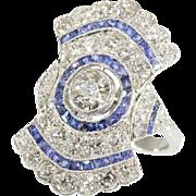Art Deco Sapphire and Diamond Ring c.1920