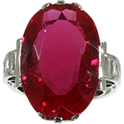Large Ruby Ring Diamond Platinum 18K White Gold French Art Deco c.1920
