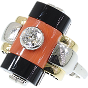 Blood Coral Ring Black Onyx Diamond Art Deco
