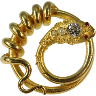 Antique 18K yellow gold snake serpent brooch with big diamond