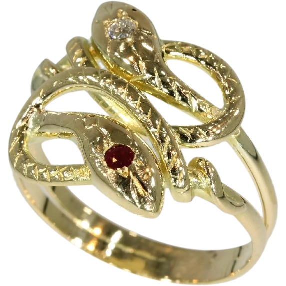 antique gold snake ring from rubylane sold on