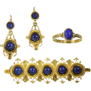 Neo-Etruscan revival parure ring brooch and earrings 18K yellow gold filigree and blue lapis lazuli granules
