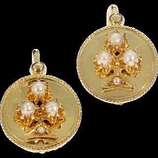French antique 18K yellow gold drop earrings shamrock