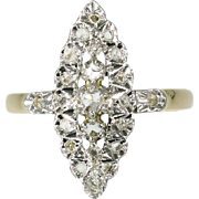 French Diamond and Gold Marquise Ring ca.1920