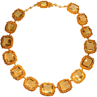 Georgian Citrine and Filigree Gold Necklace Stones c.1820