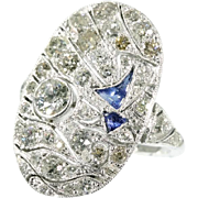 Big Art Deco ring with diamonds and blue cabochon sapphires