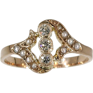 Antique Diamond and Pearl Ring 18k Rose Gold Victorian c.1890