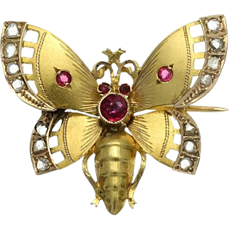 Butterfly Gold Brooch Diamond Paste Stone Victorian c1880
