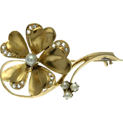 Antique Flower Gold Brooch Diamond Rose Cut Pearl Victorian c1880