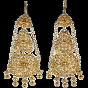 Victorian Filigree Gold Dangle Earrings c.1860