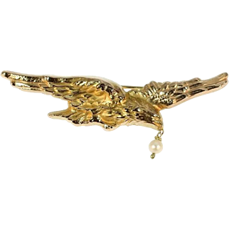 Antique Gold Flying Eagle Pin Brooch Hanging Pearl c1880