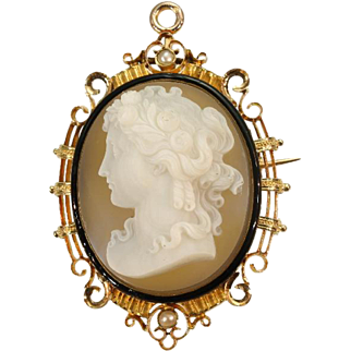 French antique Cameo Brooch Gold Enamel Pearls France c1870