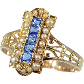 Victorian Ring Blue Paste Stone and Pearl 18K Red Gold c.1880