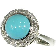 Vintage Cabochon turquoise diamond ring white gold c.1930