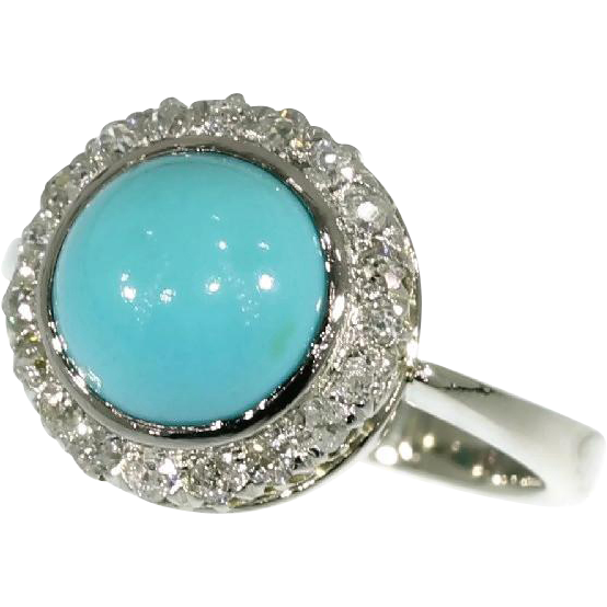 Vintage Cabochon Turquoise Diamond Ring White Gold C 1930