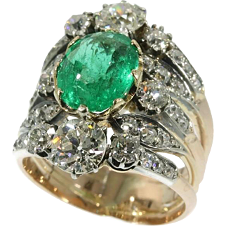 Victorian emerald and diamond ring circa 1850