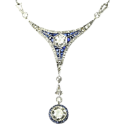 Art Deco Diamond and Sapphire Pendant Necklace c.1920