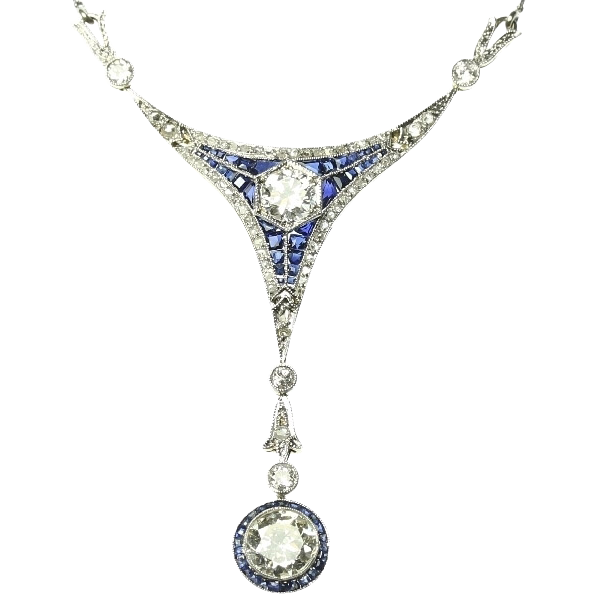 Art Deco Diamond and Sapphire Pendant Necklace c.1920 from
