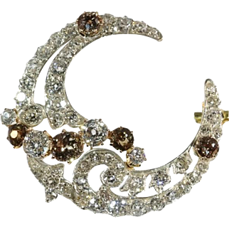 Diamond Crescent Moon Brooch Victorian c.1880