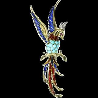 Vintage Gemstones Bird Brooch ca.1950