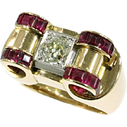 Ruby and Diamond Gold Retro Ring ca.1940