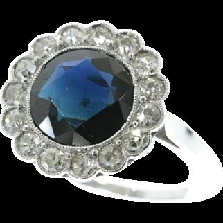 Art Deco Diamond Sapphire Engagement Ring ca.1920