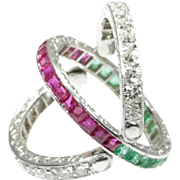 Emerald Diamond and ruby Eternity Band ca.1930