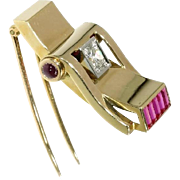 Art Retro Ruby and Gold Pin Brooch France ca.1940