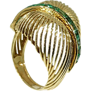 Emerald and Gold Domed Ring ca.1960