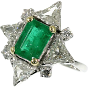 Emerald and Diamond Engagement Ring ca.1950