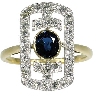 Deco Sapphire and Diamond Yellow Gold Ring ca.1930