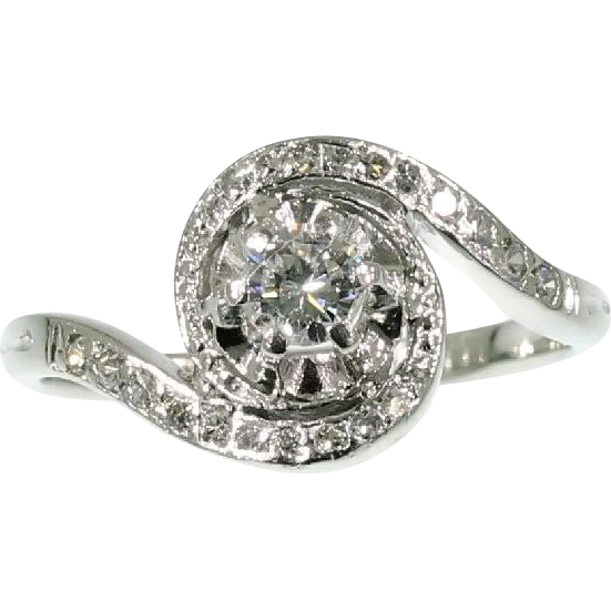 Halo Diamond Engagement Ring ca 1950 from adin on Ruby Lane