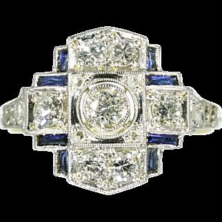 Art Deco Sapphire and Diamond Ring ca.1920