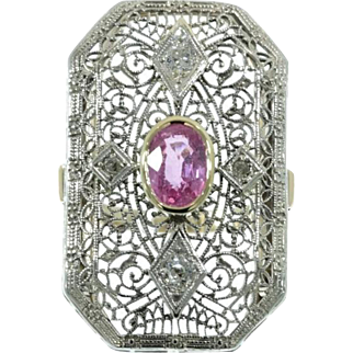 Natural Pink Sapphire and Diamond Edwardian Ring ca.1910