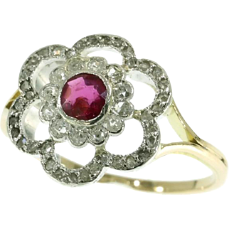 Ruby and Diamond Roset Ring ca.1920