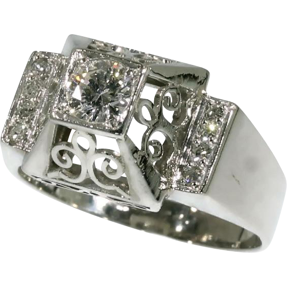 Platinum and Diamond Engagement Ring ca 1950 from adin on Ruby Lane