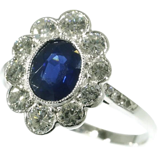 Sapphire and Platinum Ring ca.1950