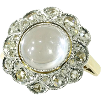 Moonstone and Diamond Ring ca.1920