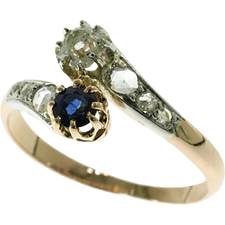 Antique Sapphire and Diamond Gold Ring France ca.1915