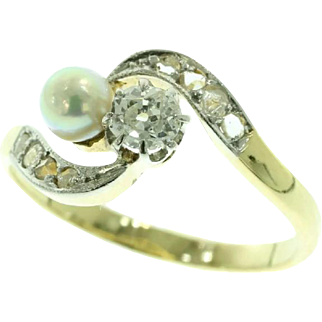 Antique Diamond and Pearl Ring ca.1900