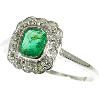 Art Deco Emerald and White Gold Ring ca.1920