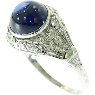 Cabochon Sapphire and Diamond Ring ca.1950