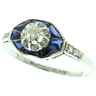French Art Deco Sapphire and Diamond Ring ca.1920