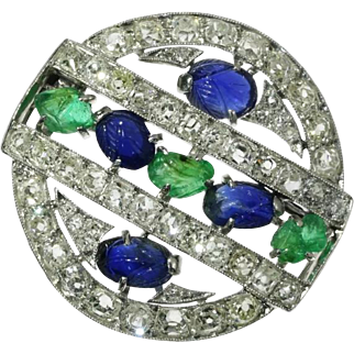 Art Deco Tutti Frutti Gemstones Brooch ca.1920