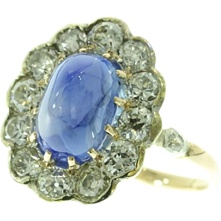 Natural Cabochon Sapphire Belle Epoque Ring ca.1910
