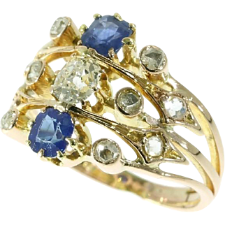 Victorian Sapphire and Diamond Ring ca.1870
