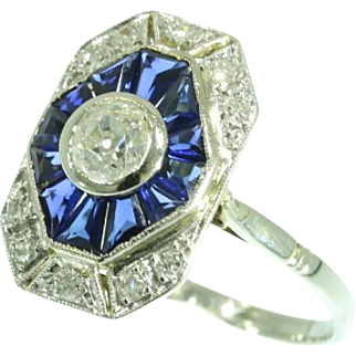 Art Deco Sapphire and Diamond Ring France ca.1920