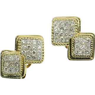 Signed Boucheron Diamond and Gold Clip Earrings ca.1950