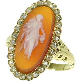 Antique Cameo and Diamond Ring ca.1870